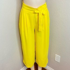 Zara Yellow Crop Trouser Pants
